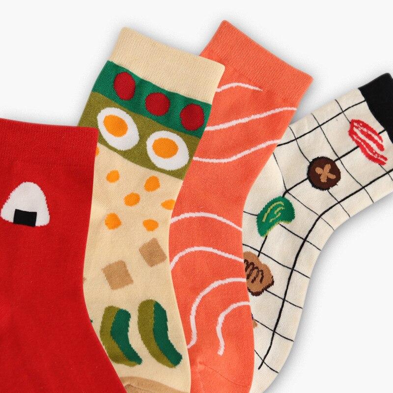 Japan Style Vintage Food Patterned Women   Socks   Funny Salmon & Sushi Casual Cotton Art   Socks   Creative Customized Harajuku Sox