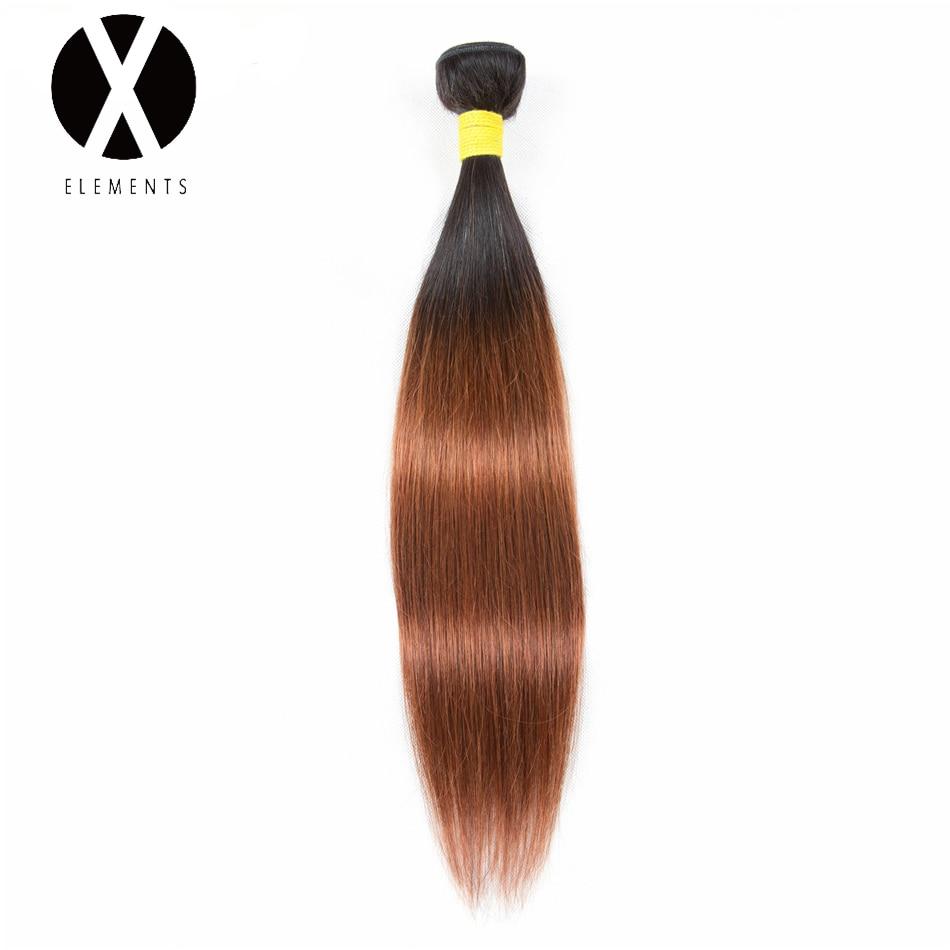 X-Elements Pre-colored Human Hair Bundles T1B/30 Straight Hair Weaves 1 Bundles Brazilian Non-Remy Hair Extensions