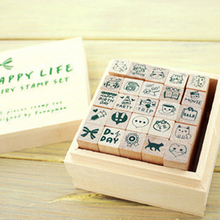25pcs / Lot Korea Happy Life DIY wooden box seal Stationery Set