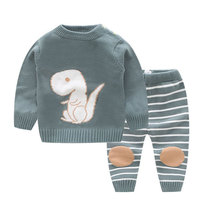 Toddler Baby Dinosaur Cotton Clothing Set Toddler Striped 2Pcs Pullover+Pants Clothed Set Baby Newborn O neck Outfits AA52182