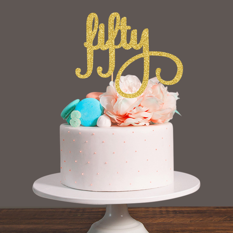 Online Get Cheap 50th Birthday Cake Toppers Gold Aliexpresscom