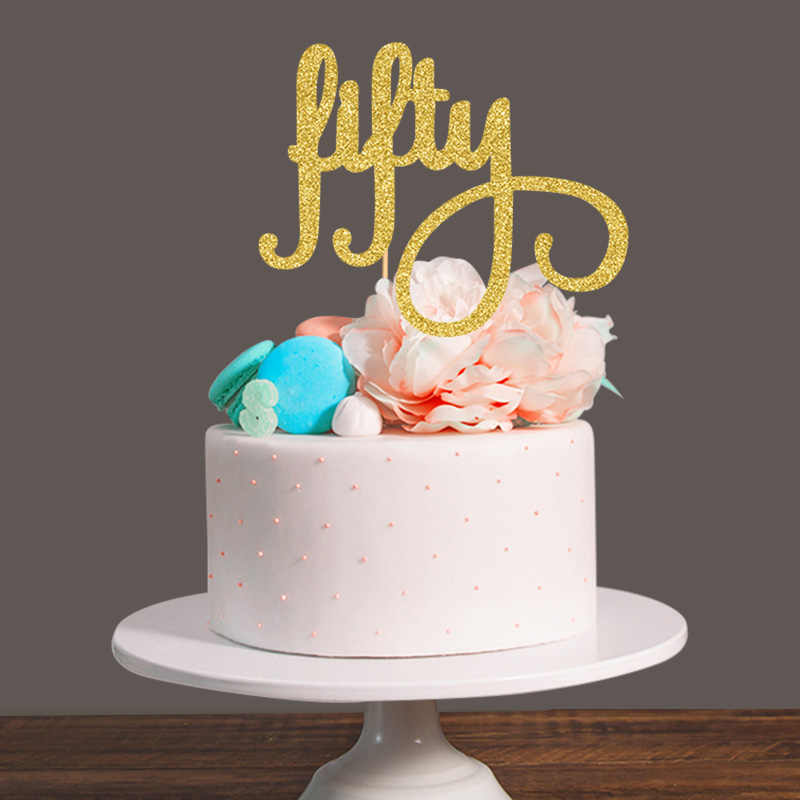 Tremendous Gold Silver Black Glitter Fifty Cake Topper 50Th Birthday Party Funny Birthday Cards Online Drosicarndamsfinfo