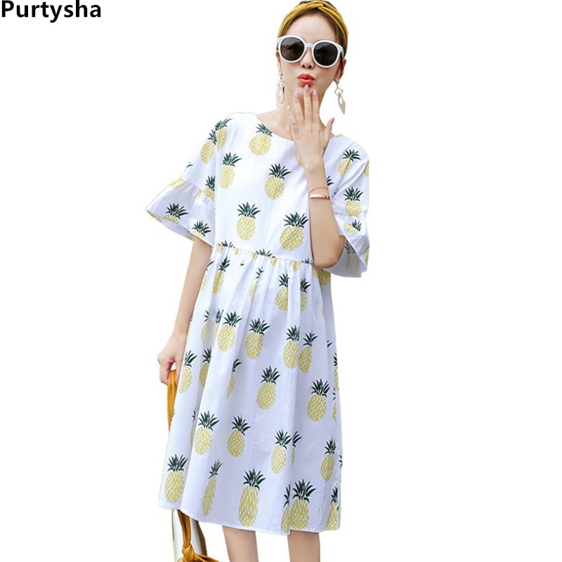Maternity Dresses Fashionable Short Sleeve Loose Plus Size Pregnant Dress Elegant Summer Pineapple Print Women Maternity Clothes