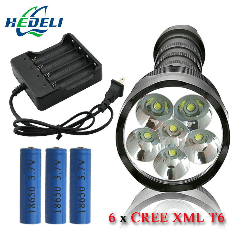 Portable Light Powerful Flashlight Removable Led Flashlight Search Torch 6 Cree Xml T6 3 18650 Rechargeable Battery Portable Lights & Lighting