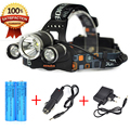 Bourit RJ-3000 8000Lumens Linterna frontal LED Headlamp Head lamp T6 3 LED Headlight head torch flashlight +Battery+Car /Charger