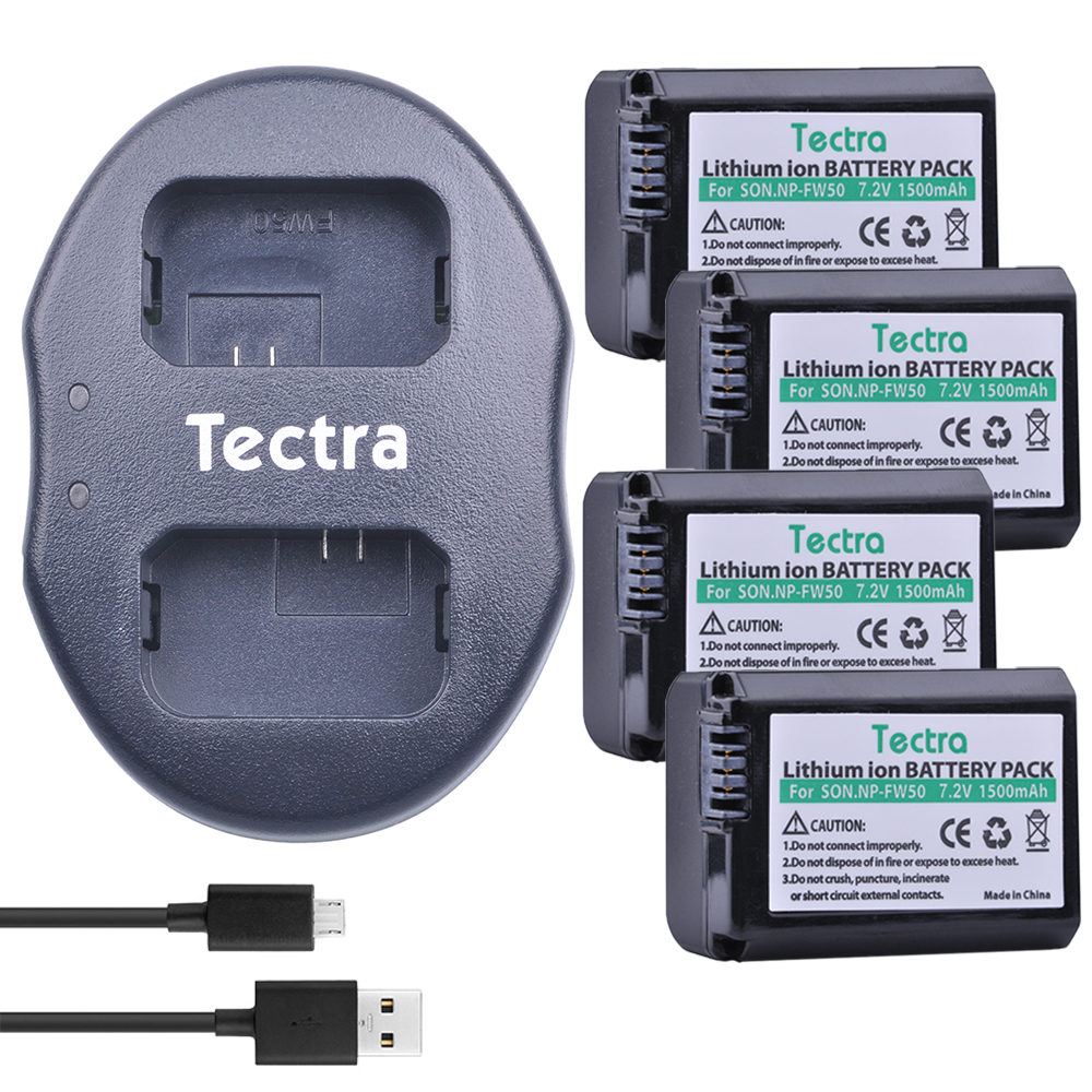Tectra 4Pcs NP-FW50 NP FW50 Battery + USB Dual Charger for Sony Alpha 7 a7 7R a7R 7S a7S a3000 a5000 a6000 NEX-3 NEX-3N NEX-5 цена