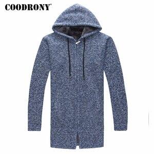 Image 5 - COODRONY セーター男性服 2019 冬厚く暖かいロングカーディガンの男性セーターコットンライナージッパーコート h004