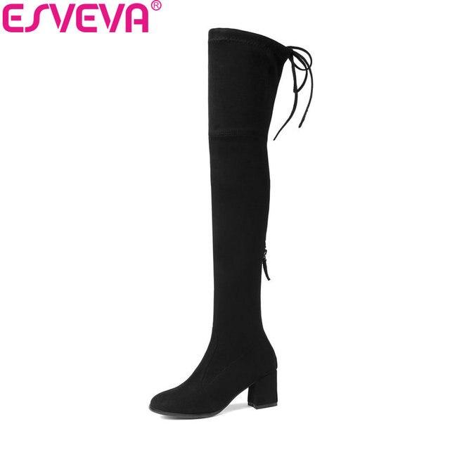 ESVEVA 2020 Kadın Bot ayakkabı Fermuar Seksi kışlık Botlar Diz Çizmeler Üzerinde yüksek topuklu ayakkabı Kare Ayak Bayan Botları Boyutu 34 -43