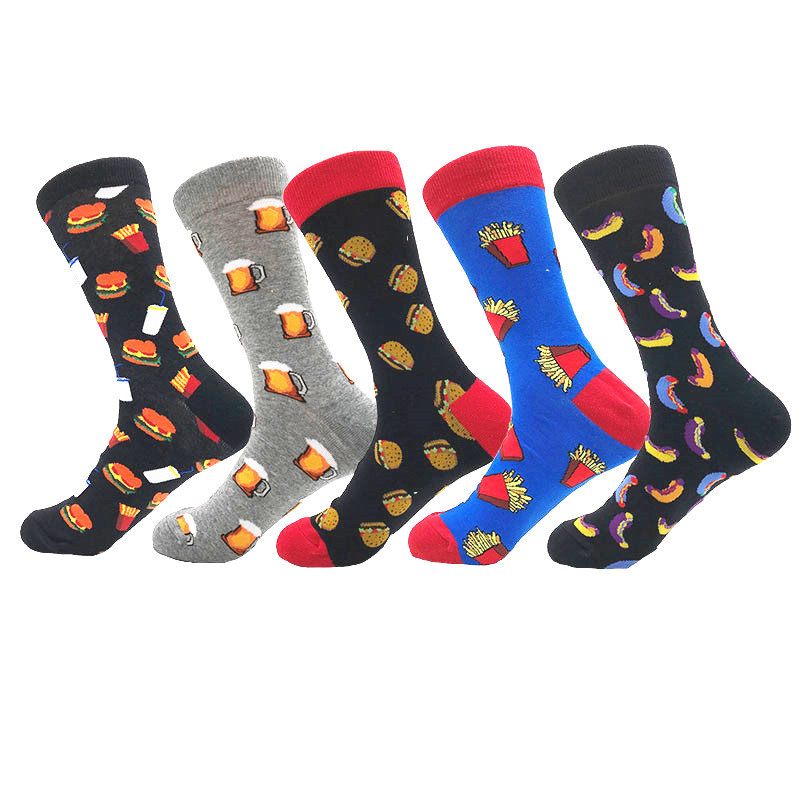 Delicious Food Beer Hamburger Printing Men Socks Creative Crew Funny Cartoon Sokken Harajuku Hip Hop Novelty Calcetines Hombre