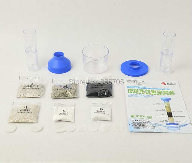 US $10 98 40% OFF|Technology DIY Clean Water Science DIY Kit Ages 10+,Kids  Green Science Water Purification Experiment Kit Learn Clean Reuse Water-in