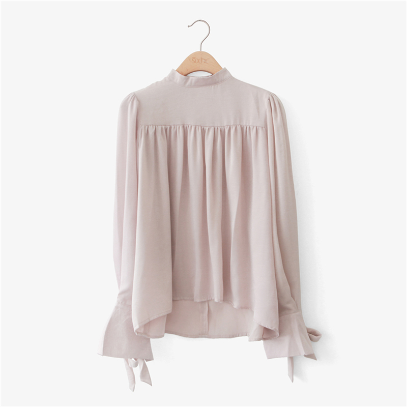 Eleindole Korean Style Fashion Women Blouses Pullover Solid Loose Stand Up Collar Blouse Loose