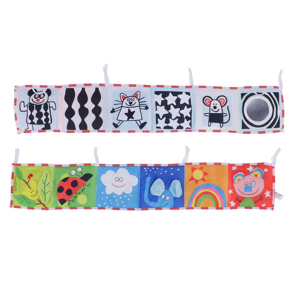 New Non-toxic Baby Double Sides Clip-on Pram Book Intelligence Development Toy