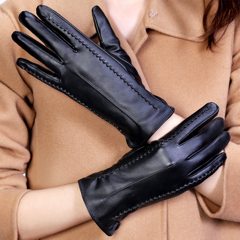 2016 New Ladies Winter Finger Gloves 1Pair Touch Screen Winter Warm Gloves Leather Imitation Rabbit Hair PU Leather