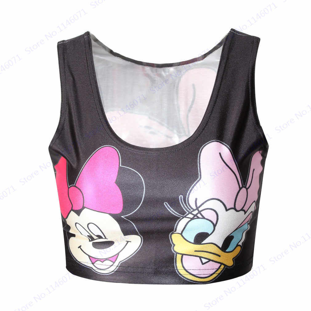 8526d62290a55a Lovely Minnie Mouse Cropped Tank Tops Sleeveless Pink Crop Top Ladies Daisy  Duck Running Vest Sports