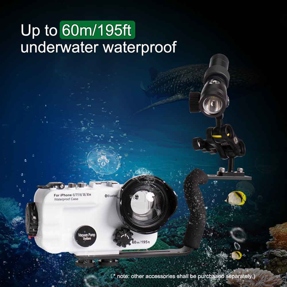Image 3 - Seafrogs For iPhone 6/7/8/X/XR Waterproof Housing Professional Diving Underwater Photography  60M Phone Accessrories Case-in Camera/Video Bags from Consumer Electronics