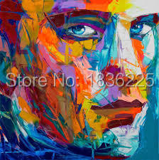 Newest Artwork Hand-painted High Quality Pop Designed Abstract Colorful Face Portrait Oil Painting For Wall Decoration