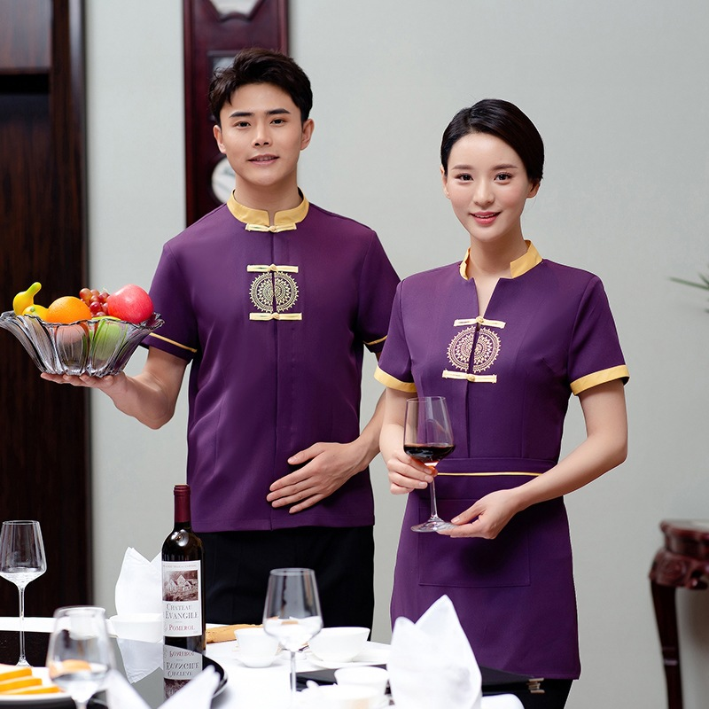 Waiter's Workwear Short Sleeve Uniforms Summer Hotel Teahouse Catering Hot Pot Restaurant Unisex Waiter Uniforms Cooking Clothes