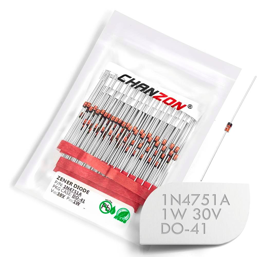 (100/500 Pcs) 1N4751A 1N4751 Power Zener Diode 1W 30V DO-41 (DO-204AL) Axial 1 Watt 30 Volt IN 1N 4751A IN4751A