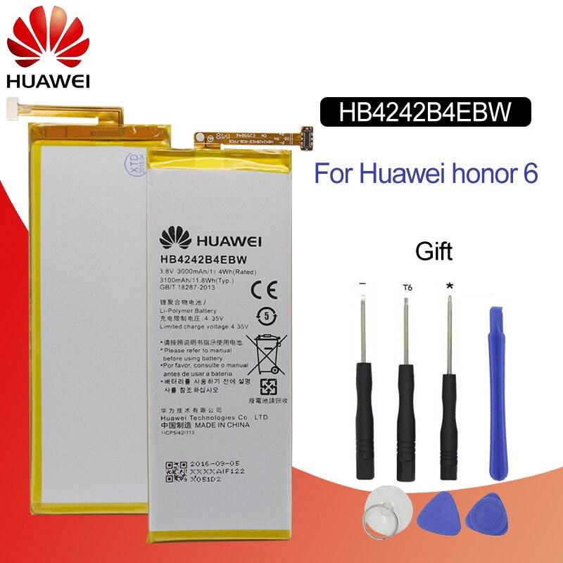 Batería Original para HUAWEI HB4242B4EBW 3000mAh para Huawei Honor6 Honor4X H60-L01 H60-L02 H60-L04-L11 batería de teléfono de repuesto