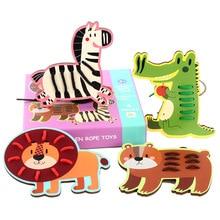 Childrens Wooden Cartoon Animal Serie Rope Toys Lion/Crocodile/Zebra/Bearor Fruit rope toy Wood Threading Board Life Skills
