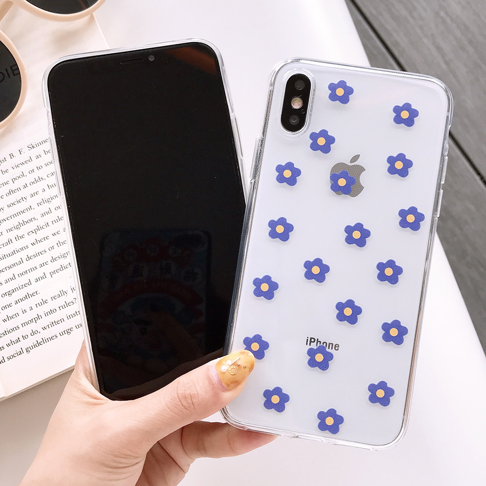 KIPX1117_3_JONSNOW Transparent Flowers Pattern Phone Case for iPhone X XR XS Max 8 Plus 7 6P 6S Cases Soft Silicone Cover Capa Coque Fundas