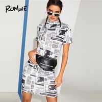75c30e80bcee ROMWE газеты обтягивающее платье 2019 черно-белый с коротким рукавом прямые  H платье Стильный Для