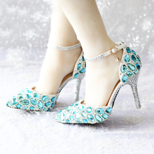 2016 Spring and Summer High-heel Women Wedding Shoes Pointed Toe High Heels with Ankle Strap Sapatos Femininos Blue Rhinestone