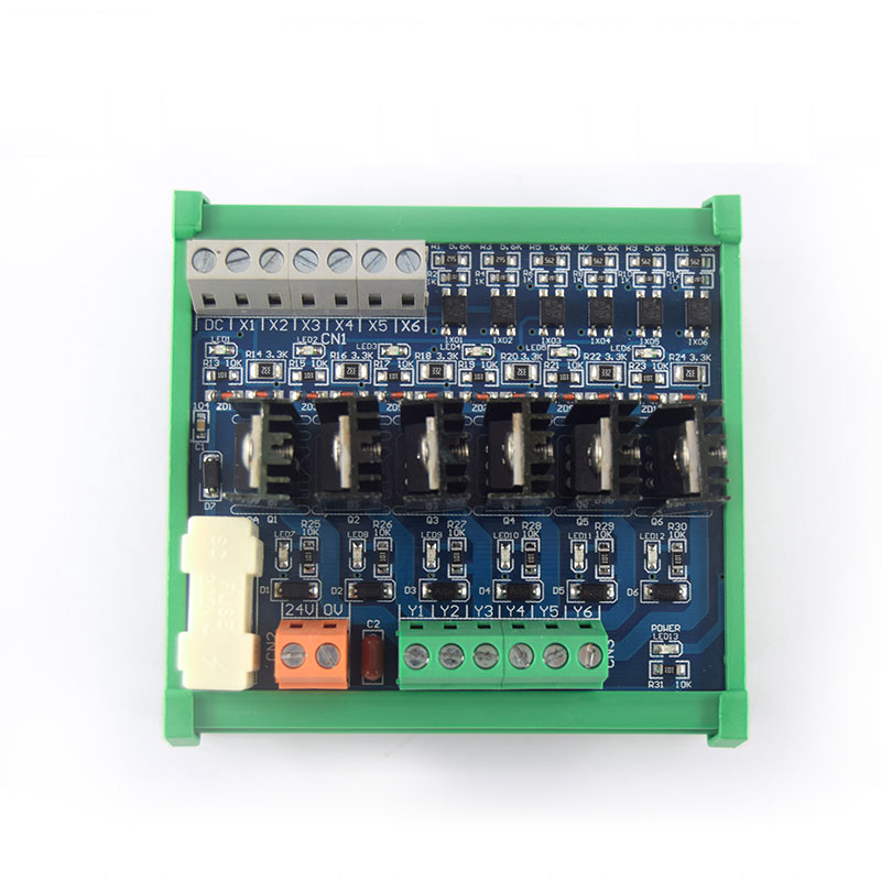6-channel PLC DC amplifier board, signal output relay power board, optocoupler isolation, short circuit protection