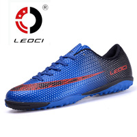 LEOCI Boy Kids Men Soccer Cleats Shoes Turf Football Boots Soccer Shoes Hard Court Outdoor Sneakers
