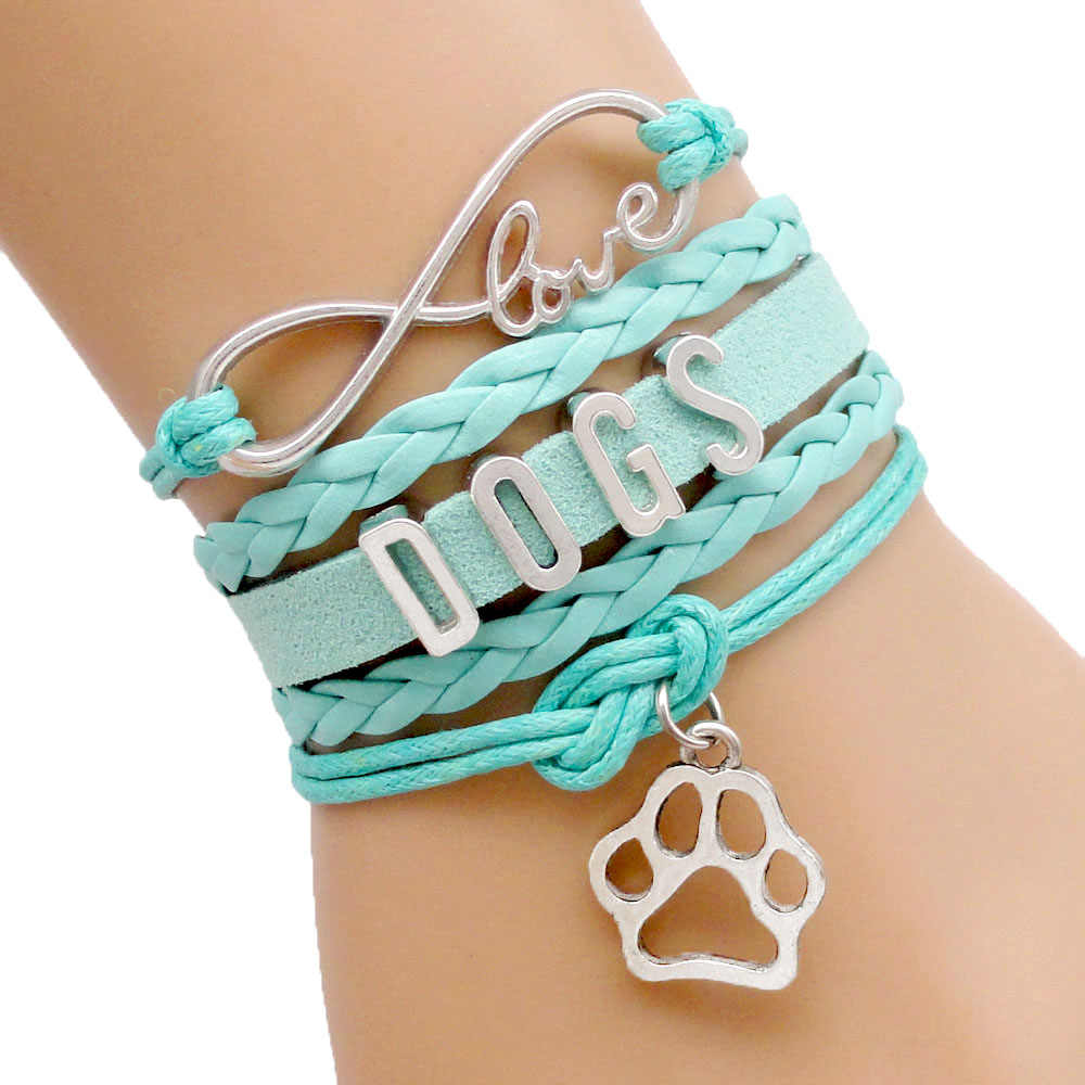 Infinity Love Dogs Cats Paw Bracelet Dog Cat Mom Leather Wrap Men Bracelets & Bangles For Women Jewelry Drop Shipping