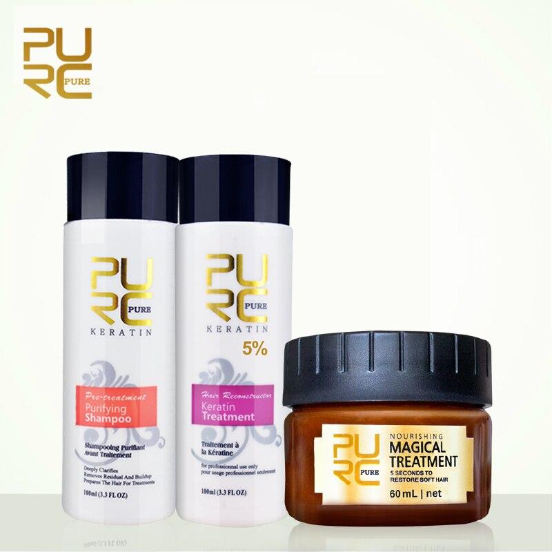 PURC alisador de cabello y reparación de productos para el cabello tratamiento de queratina brasileña con máscara de pelo suave