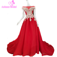 Arabic Red Green Tulle Prom Dresses 2018 Modest Jewel High Neck Lace Sleeves A line Party Dresses Evening Wear Robe De Soiree