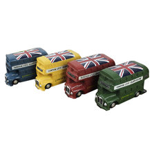 Resin Crafts British Bus Piggy Bank Ornaments Nostalgic Creative Retro Bus Currency Save Coin Bank Home Decoration Birthday Gift(China)