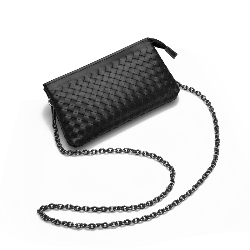 woven Cowhide chain crossbody bags genuine leather zipper lambskin clutches cover closure women small bags