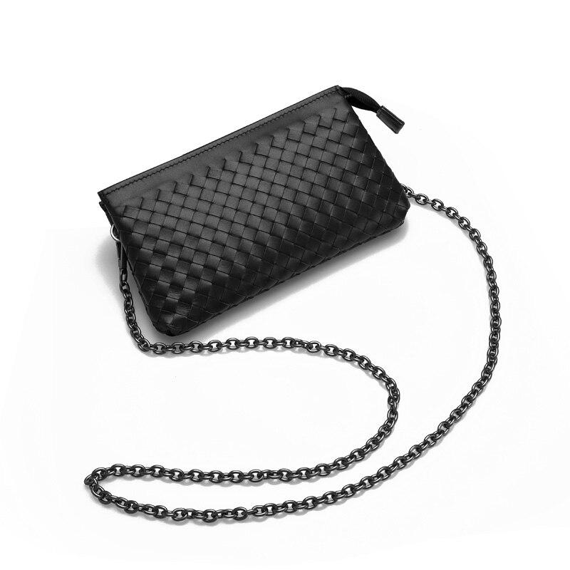Bagaj ve Çantalar'ten Üstten Saplı Çanta'de Lüks Çanta Kadın Çanta Tasarımcısı Kadın Crossbody MiNi Cüzdan Cep telefonu çantası Çanta Inek Deri dokuma zincir çanta'da  Grup 1