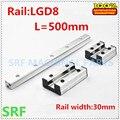 30mm breite Doppel Achse Externe Führungsschiene Welle typ linear guide 1 stücke LGD8 L = 500mm mit 1 pc 4 räder slide block für CNC teile Linearführungen    -