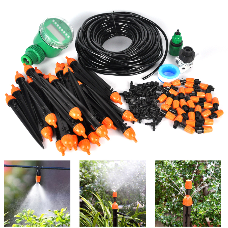 25m DIY Automatic Drip Irrigation System With Timer Adjustable Dripper  Sprinkler Self Watering Kits For Garden Greenhouse In Watering Kits From  Home ...