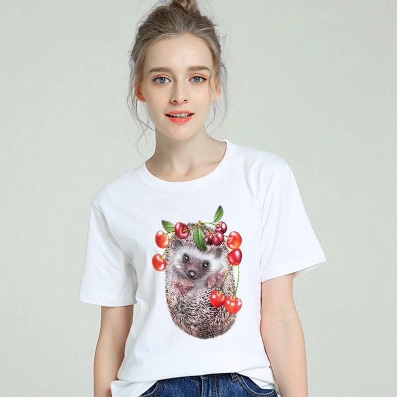 Hedgehog Funny T Shirt Women Cotton 2019 Harajuku Aesthetic Short Sleeve Plus Size Female T-shirt White Tshirt Tumblr Top & Tees