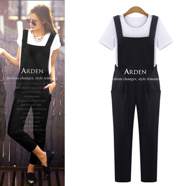 adffff2392 the most popular black overalls for women elastic capris women jumpers and  rompers high waist pants