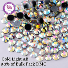 High Quality Light Gold AB DMC Hotfix Rhinestones For Clothing Accessories DIY Decoration Iron On Stones