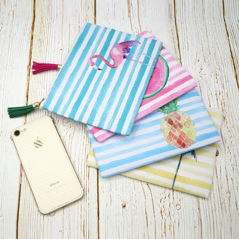 BONAMIE Hot Women Stripe Cosmetic Case Bag Flamingo Printed Lady Clutch Bag Tassel Leather Girl Small Beach Bag Purse Makeup Bag