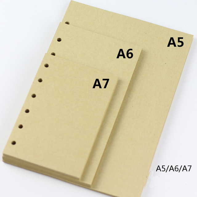 2017 Blank Vintage Kraft Notebook Paper Inner Filler A5 A6 A7 For Diary Agenda Loose