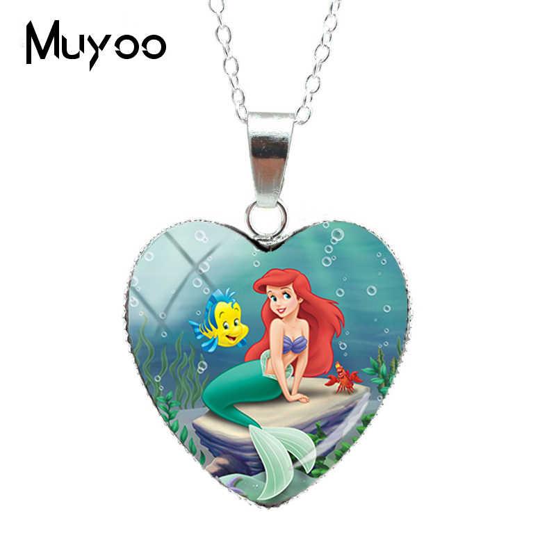 Nueva moda belleza pequeña sirena Ariel princesa corazón collar princesa dulce sirena corazón colgantes joyería hz3