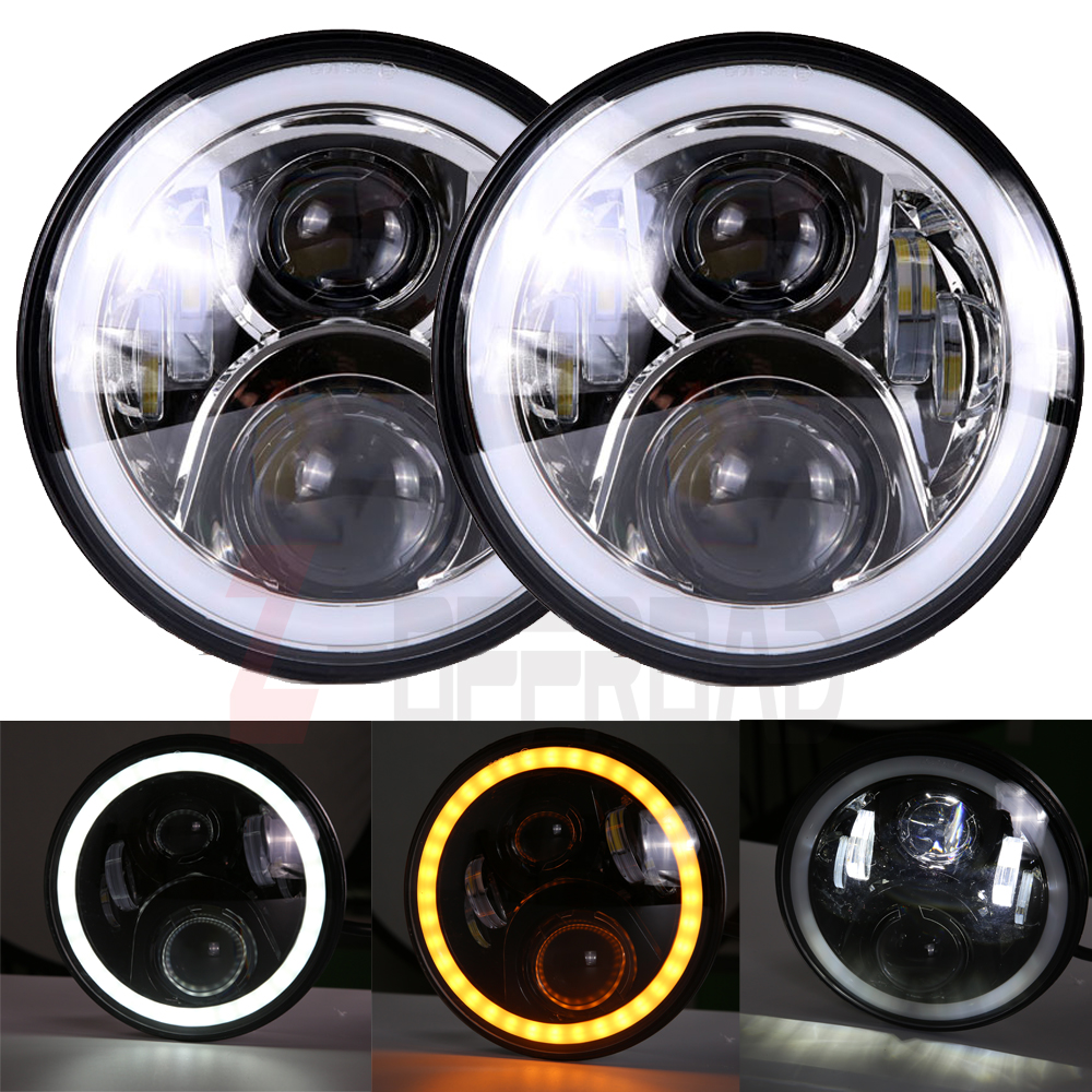 7 inch round led headlights white halo angel eye ring drl amber turn signal lights