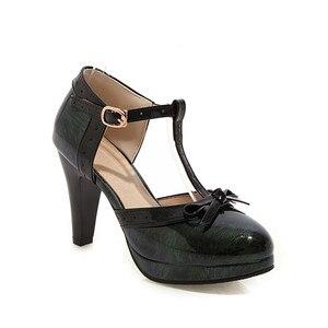 Image 5 - YMECHIC 2019 แฟชั่นสิทธิบัตรสีดำสีเขียวสีแดงแพลตฟอร์ม Spike ส้นสูง Bowtie พรรค Lolita รองเท้าสตรีปั๊มฤดูร้อน Plus ขนาด