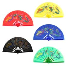 Chinese Kung Fu Fan Tai Chi Martial Arts Dragon Phoenix Plastic Handheld Folding Fans Art Dance Gift недорого