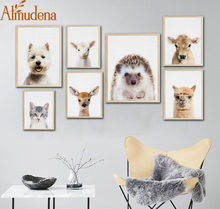 ALMUDENA Nordic Cartoon Animals Fox Panda Print and Poster Nursery Art Decor No Frame Canvas Painting Kids Room Wall Art(China)