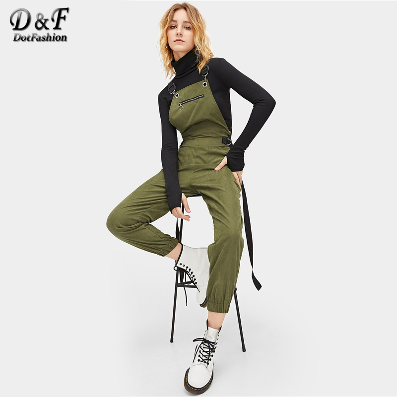 Dotfashion Army Green Tape Panel Zip Detail Dual Pocket Pinafore   Jumpsuit   For Women 2019 Spring Casual Streetwear Plain Overalls