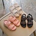 Детские сандалии с блестками; Новинка лета 2018 года; сандалии для девочек; Студенческая пляжная обувь; сандалии для мальчиков
