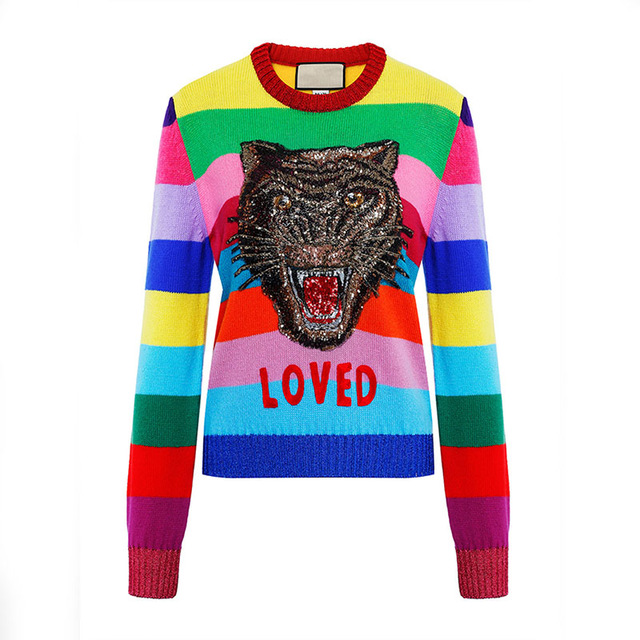 Runway Design Tiger Sequins Women Sweater 2018 Winter Long Sleeve Female Rainbow Striped Knitted Pullovers Embroidered Clothing